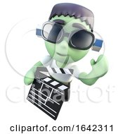 3d Frankenstein Halloween Monster Holding A Clapperboard