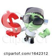 3d Halloween Frankenstein Monster Holding A US Dollar Currency Symbol