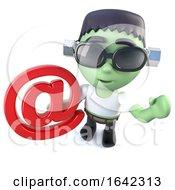 3d Frankenstein Monster Holding An Email Address Symbol