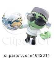 3d Frankenstein Monster Holding A Globe Of The Earth