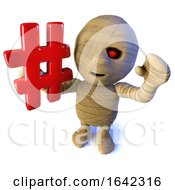 3d Halloween Egyptian Mummy Character Holding A Hashtag Symbol by Steve Young