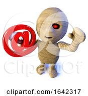 3d Halloween Egyptian Mummy Character Holding An Email Address Symbol
