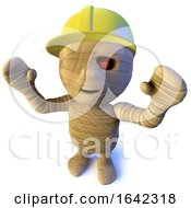 3d Halloween Egyptian Mummy Character Wearing A Construction Safety Hard Hat