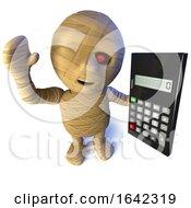 3d Egyptian Mummy Monster Character Holding A Calculator