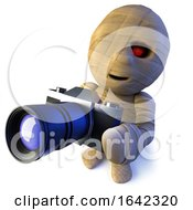 3d Egyptian Mummy Monster Character Holding A Camera
