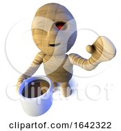 3d Egyptian Mummy Monster Character Drinking Coffee From A Mug