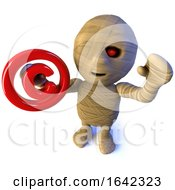 3d Egyptian Mummy Monster Character Holding A Copyright Symbol