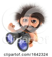 3d Stone Age Caveman Character Holding A Pair Of Binoculars by Steve Young