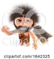3d Stone Age Caveman Character Holding A Broom by Steve Young