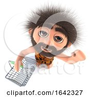 3d Stoneage Caveman Character Holding A Shopping Basket