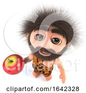 3d Funny Stoneage Caveman Character Holding An Apple by Steve Young