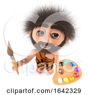 3d Stoneage Caveman Character Painting With A Paintbrush And Palette by Steve Young