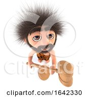 3d Stoneage Caveman Character Holding An Auction by Steve Young
