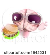 3d Human Brain Character Eating A Cheeseburger Snack