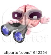 3d Brain Character Using A Pair Of Binoculars by Steve Young