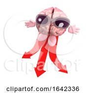 Cartoon 3d Brain Character Choosing Which Direction To Travel