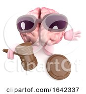 Poster, Art Print Of 3d Brain Character Holding An Auction