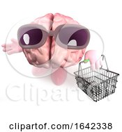 Cartoon 3d Brain Character Holding A Shopping Basket by Steve Young