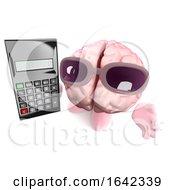 3d Human Brain Character Holding A Digital Calculator