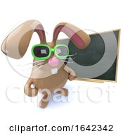 Poster, Art Print Of 3d Cute Chocolate Easter Bunny Rabbit Standing At A Blackboard