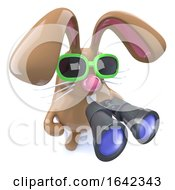 Poster, Art Print Of 3d Cute Chocolate Easter Bunny Rabbit Holding A Pair Of Binoculars