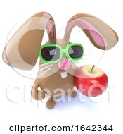 Poster, Art Print Of 3d Cute Chocolate Easter Bunny Rabbit Holding An Apple