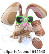 Poster, Art Print Of 3d Cute Chocolate Easter Bunny Rabbit Holding An Auctioneers Gavel