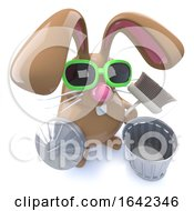 Poster, Art Print Of 3d Cute Chocolate Easter Bunny Rabbit Ready To Clean With A Broom