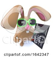 Poster, Art Print Of 3d Cute Chocolate Easter Bunny Rabbit Holding A Calculator