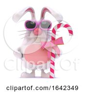 3d White Rabbit Has Candy