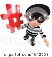 3d Burglar Thief Character Holding A Hashtag Internet Symbol