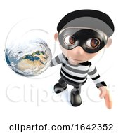 3d Burglar Thief Character Holding A Globe Of The Earth