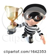 3d Burglar Thief Character Holding A Gold Cup Trophy