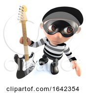 3d Burglar Thief Character Holding An Electric Guitar