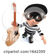 3d Burglar Thief Character Stealing An Acoustic Guitar