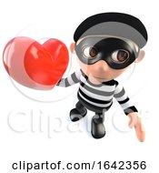 Poster, Art Print Of 3d Burglar Thief Character Holding A Red Romantic Heart