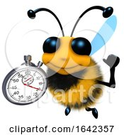 3d Funny Cartoon Honey Bee Character Holding A Stopwatch Timer