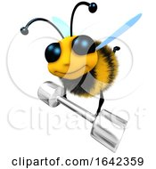 3d Funny Cartoon Honey Bee Character Lifting A Heavy Metal Dumbell