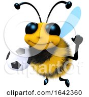 3d Funny Cartoon Honey Bee Character Holding A Soccer Football