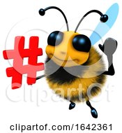 3d Funny Cartoon Honey Bee Character Holding A Hashtag Symbol