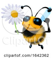 3d Funny Cartoon Honey Bee Character Holding A Daisy Flower