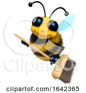 3d Funny Cartoon Honey Bee Character Is Sweeping With A Broom