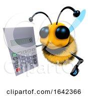 3d Funny Cartoon Honey Bee Character Holding A Calculator