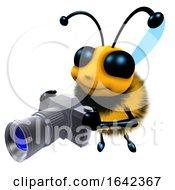3d Funny Cartoon Honey Bee Character Holding A Camera