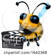 3d Funny Cartoon Honey Bee Character Holding A Movie Makers Clapperboard