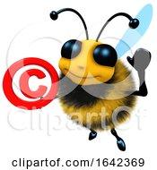 3d Funny Cartoon Honey Bee Character Holding A Copyright Symbol