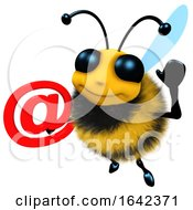 3d Funny Cartoon Honey Bee Character Holding An Email Address Symbol