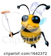 3d Funny Cartoon Honey Bee Character Cooking A Barbecue