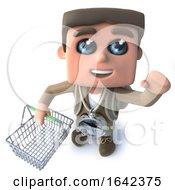 3d Hiker Explorer Holding A Shopping Basket