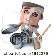 3d Hiker Explorer With Broom And Trash Can by Steve Young